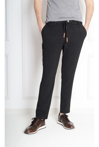 Luppo Club Gofre Çizgili Yazlık Slim Fit Siyah Erkek Pantolon