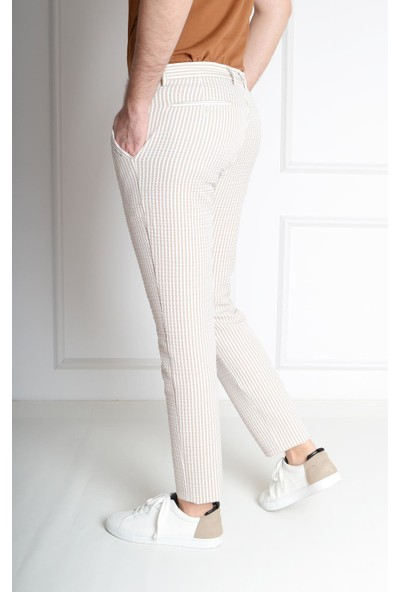Luppo Club Marina Çizgili Yazlık Slim Fit Gri Erkek Pantolon