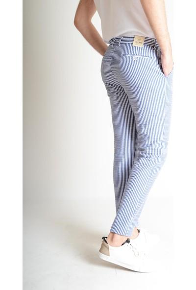 Luppo Club Marina Çizgili Yazlık Slim Fit Mavi Erkek Pantolon