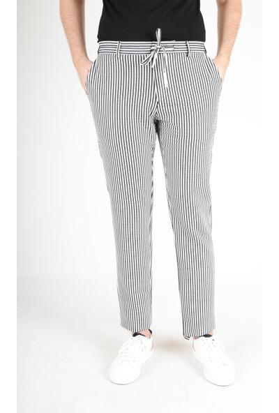 Luppo Club Marina Çizgili Yazlık Slim Fit Siyah Erkek Pantolon