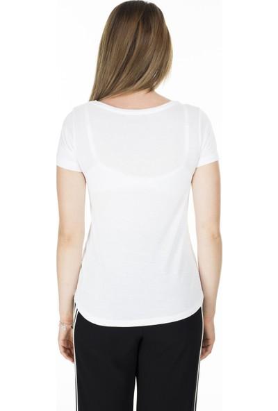 Lela Çapraz İp Detaylı Havuz Yaka Kadın T-Shirt 5411023