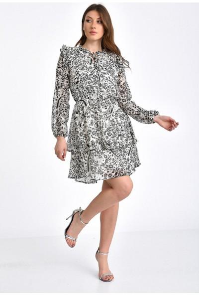 Park Karon Kadın Volanlı Omuzları Fırfırlı Desenli Şifon Elbise Ekru 40