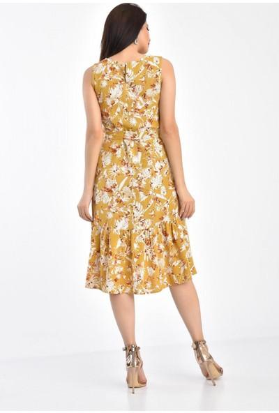 Park Karon Kadın Çiçek Desenli Parçalı Sıfır Kol Bağcıklı Elbise Hardal 42