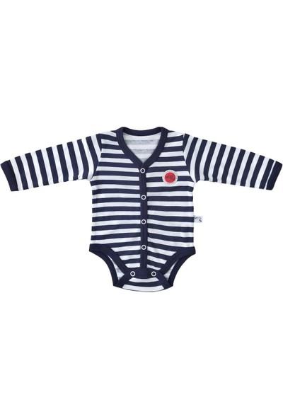 Veo Baby Önden Çıtçıtlı Lacivert Çizgili Kız Bebek & Erkek Bebek Body - Badi