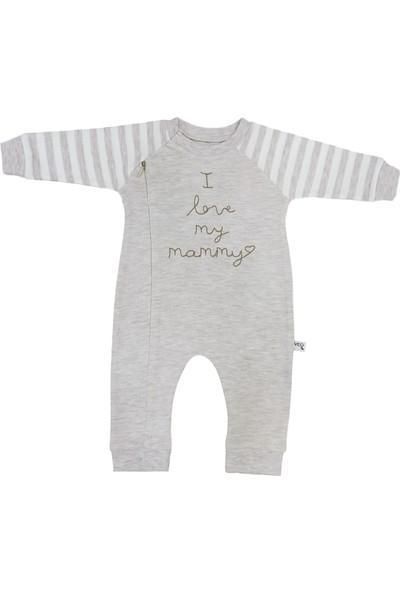 Veo Baby I Love My Mammy Baskılı Furmuarlı Kız Bebek & Erkek Bebek Tulum