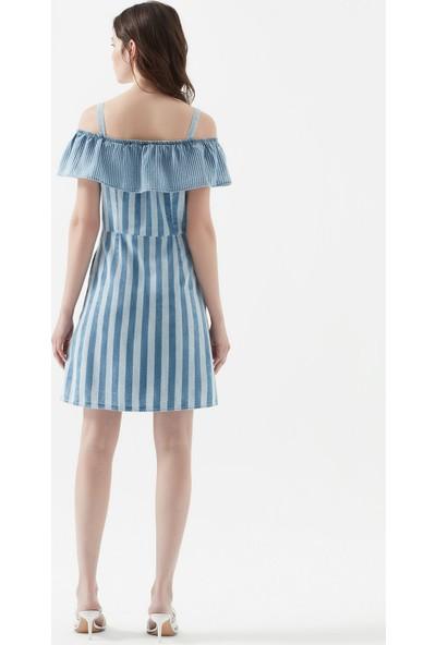 Mavi Kadın Fırfırlı İndigo Elbise 130868-10242