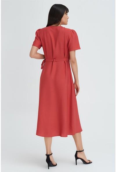 Gusto Anvelop Kesim Uzun Keten Elbise - Kiremit