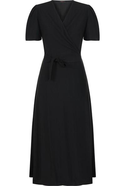 Gusto Anvelop Kesim Uzun Keten Elbise - Siyah