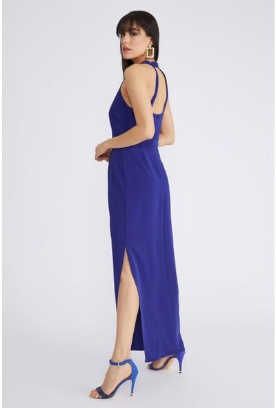 Gusto Arkası Bantlı Omuzları Açık Uzun Gece Elbisesi - Saks