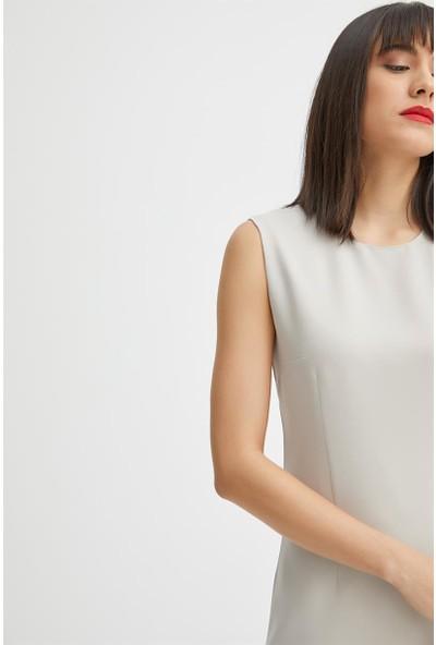 Gusto Kolsuz Klasik Jile Elbise - Taş