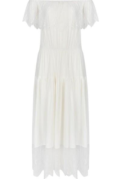 Gusto Omuzları Açık Üstü Ve Etek Ucu Dantel Viskoz Elbise - Beyaz