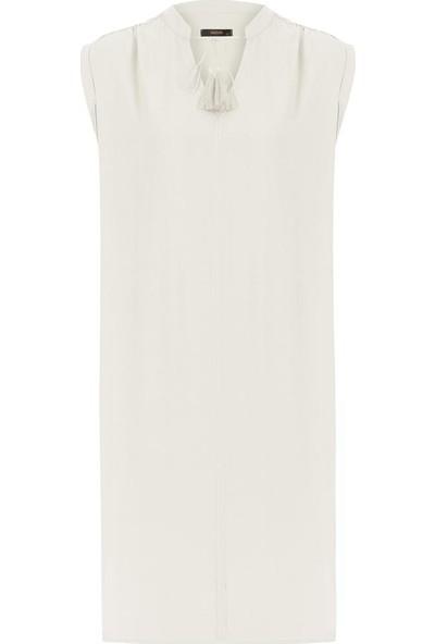 Gusto Önü Bağçıklı Rahat Kesim Keten Elbise - Ekru