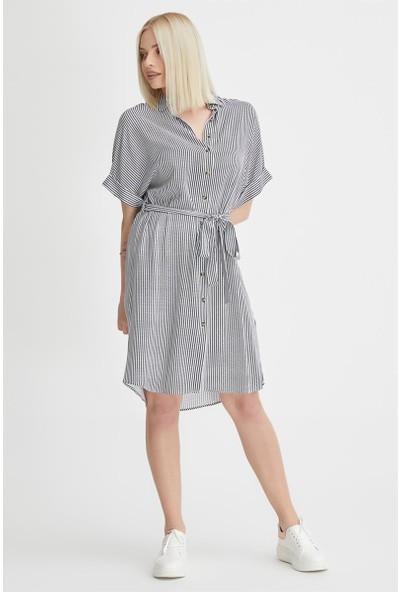 Gusto Önü Düğmeli Gömlek Elbise - Gri
