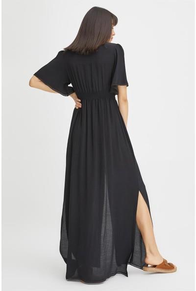 Gusto Önü Düğmeli Uzun Elbise - Siyah