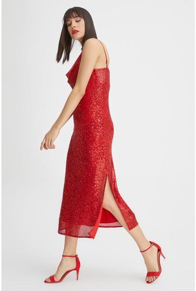 Gusto Pul Payet Uzun Elbise - Kırmızı
