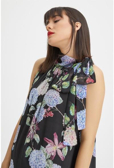 Gusto Uzun Çiçek Desenli Elbise - Siyah
