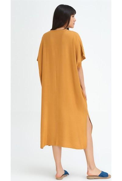 Gusto Uzun Keten Elbise - Hardal