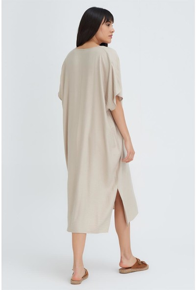 Gusto Uzun Keten Elbise - Taş