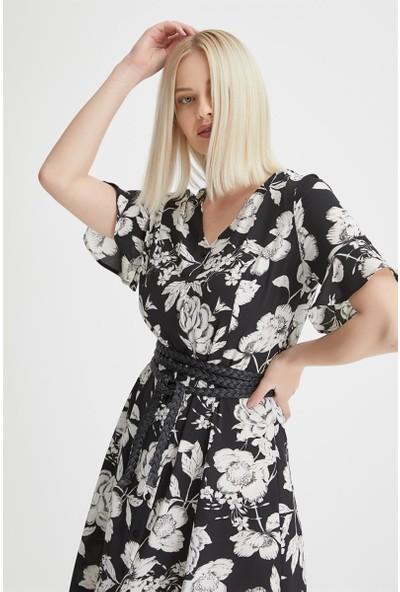 Gusto V Yaka Elbise - Siyah