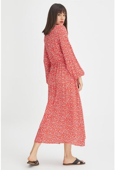 Gusto V Yakalı Uzun Kollu Viskon Elbise - Kırmızı