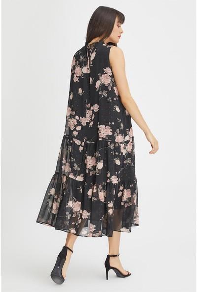Gusto Yakası Fırfırlı Çiçek Desenli Elbise - Siyah