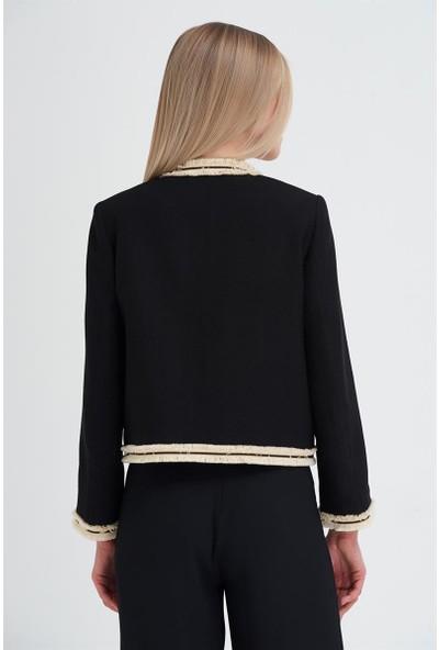 Gusto Yakasız Şerit Aksesuarlı Ceket - Siyah