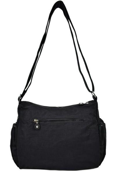 Smart Bags Krinkıl Kumaş Siyah Çapraz Çanta 1115