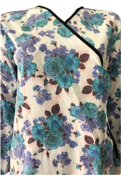 Hazal Namaz Elbisesi Mavi Güllü Desen Bağlamalı Model
