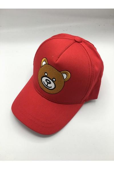 Gonca Şapka Çocuk Ayarlanabilir Nakışlı Şapka Kırmızı
