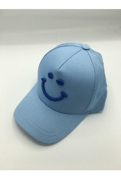 Gonca Şapka Çocuk Ayarlanabilir Nakışlı Şapka Açık Mavi