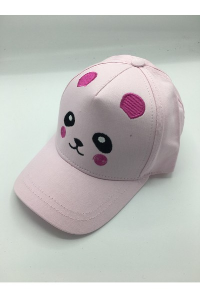 Gonca Şapka Çocuk Ayarlanabilir Nakışlı Şapka Açık Pembe Açık Pembe