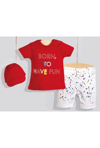 Wogi Erkek Çocuk Şapkalı Şortlu Takım Kırmızı ve Beyaz Renklerde 6 Beden