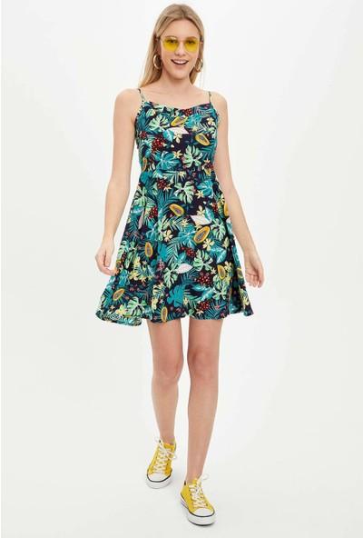 DeFacto Askılı Desen Detaylı Dokuma Elbise