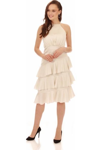 Carmen Ekru Saten Eteği Volanlı Kısa Abiye Elbise