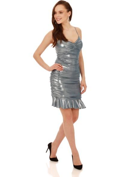 Carmen Mavi Laklı Şifon Drapeli Kısa Abiye Elbise