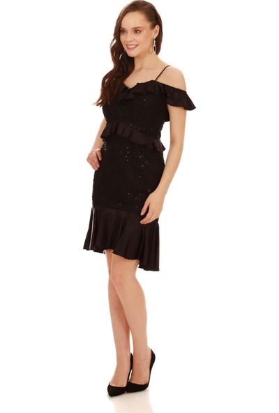 Carmen Siyah Dantel Bel Yaka Fırfırlı Kısa Abiye Elbise