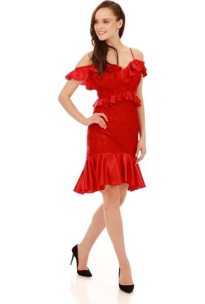 Carmen Kırmızı Dantel Bel Yaka Fırfırlı Kısa Abiye Elbise