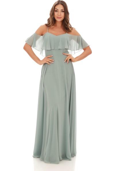 6Ixty8Ight Çağla Askılı Uzun Abiye Elbise