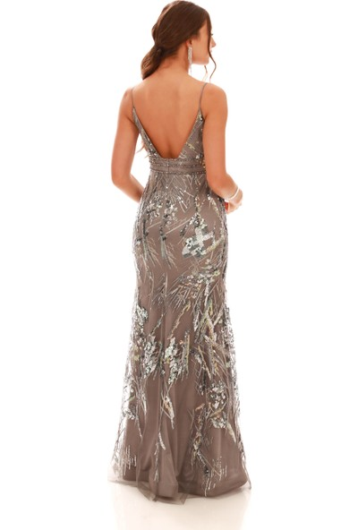 Carmen Gri Payetli Askılı Uzun Balık Abiye Elbise