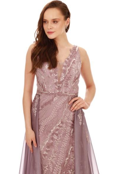 Carmen Lavanta Payetli Şifon Kuyruklu Uzun Abiye Elbise