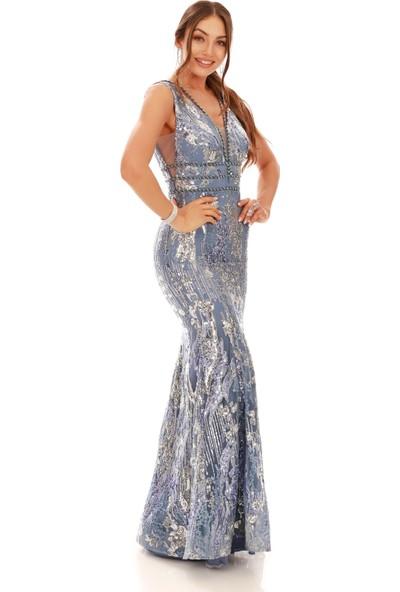 Carmen İndigo Payetli Sırtı İpli Balık Abiye Elbise