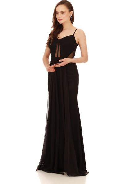 Carmen Siyah Krep Boncuk İşlemeli Pelerinli Abiye Elbise
