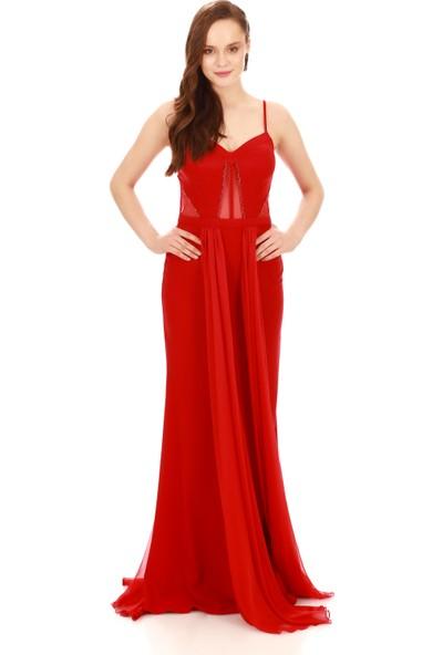 Carmen Kırmızı Krep Boncuk İşlemeli Pelerinli Abiye Elbise