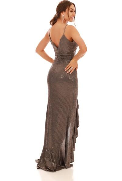 Carmen Bakır Volan Yırtmaçlı Uzun Balık Abiye Elbise