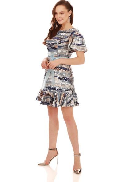 Carmen Saks Payetli Desenli Beli Kurdelalı Abiye Elbise