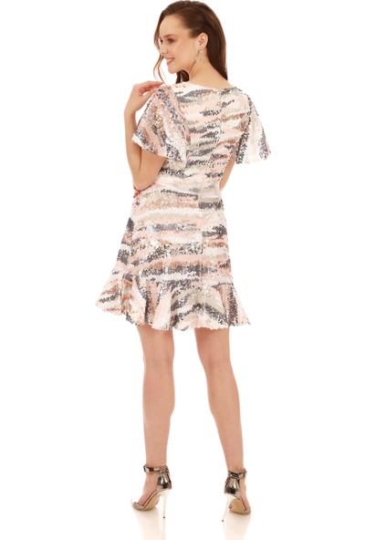 Carmen Pudra Payetli Desenli Beli Kurdelalı Abiye Elbise