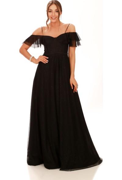 Carmen Siyah Düşük Kol Şifon Uzun Abiye Elbise