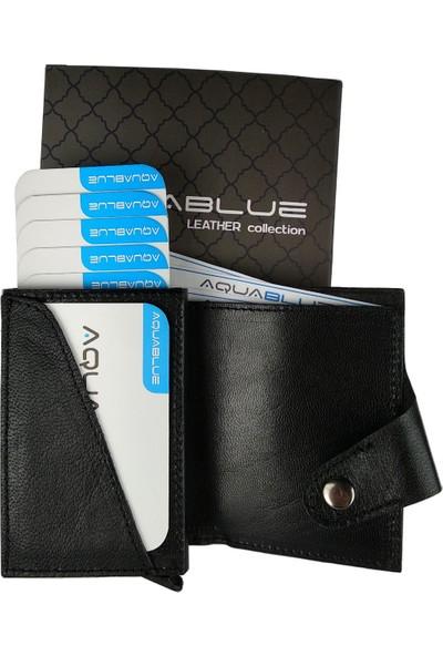 Aqua Blue Deri Kişiye Özel Otomatik Mekanizmalı Akıllı Cüzdan Kartlık
