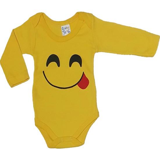 Cantaz Baby 74478 Emoji Baskılı Sarı Badi 18 Ay