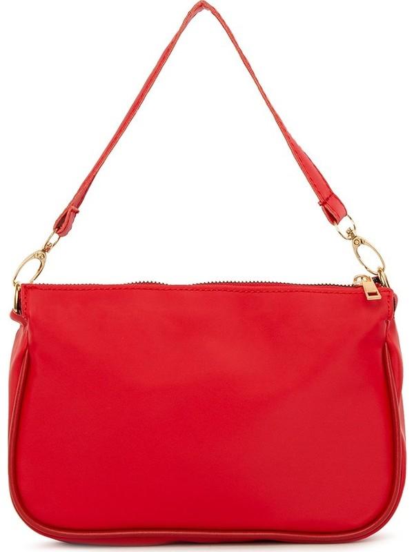 Bagmori Kırmızı Saten Fitilli Baget Çanta